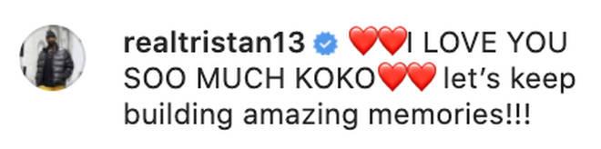 Tristan Thompson tells Khloé he loves her on Instagram