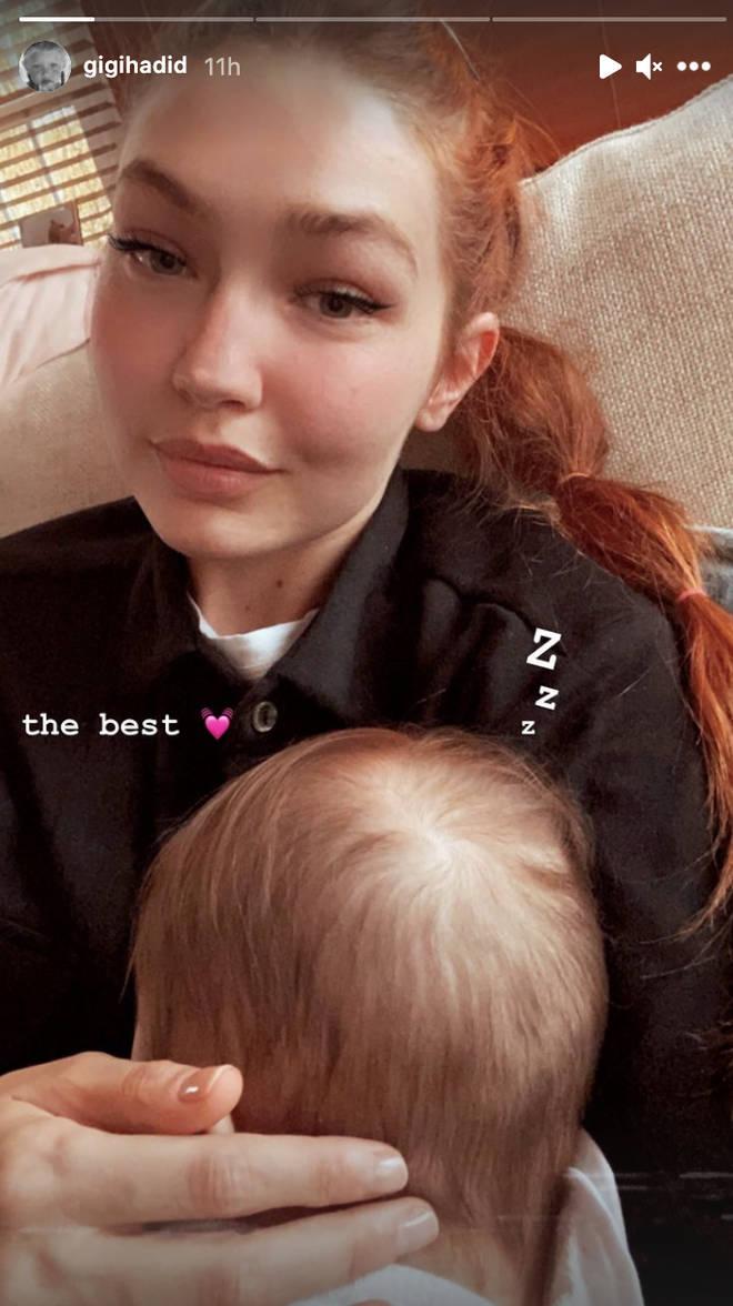 Gigi Hadid let her baby girl catch up on her sleep