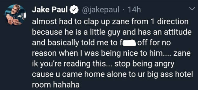 Jake Paul calls out Zayn on Twitter following feud