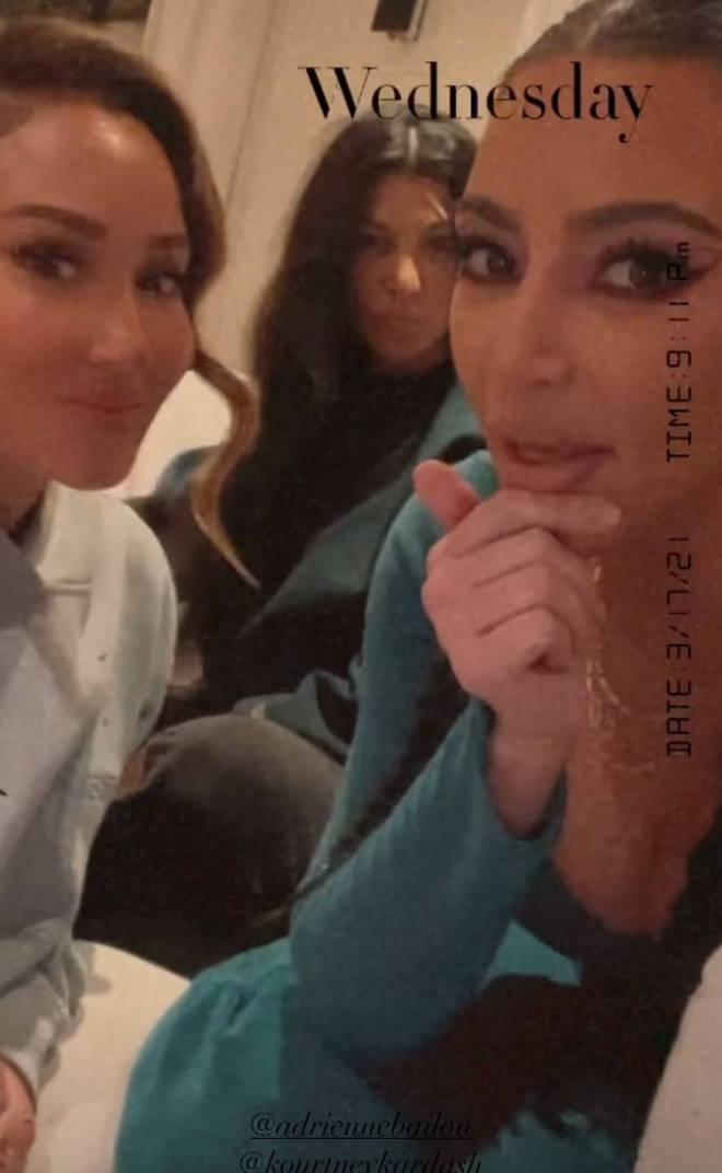 Kim and Kourtney Kardashian shared posts with Adrienne Bailon.