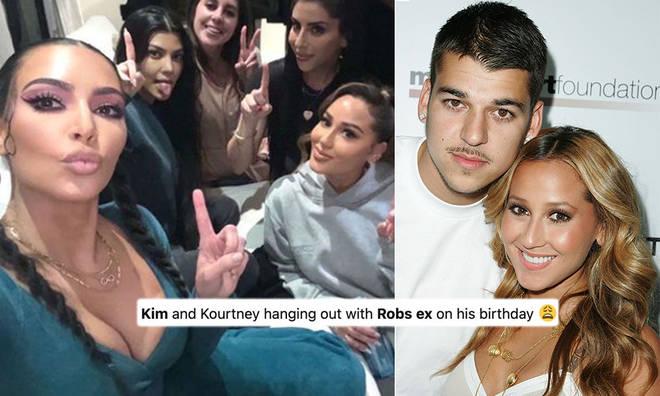 Fans were left questioning why Kim & Kourtney spent Rob Kardashian's birthday with his ex Adrienne Bailon.