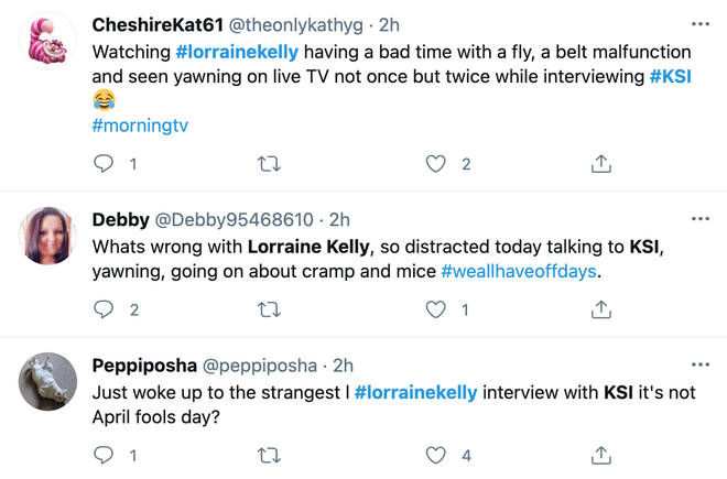 People took to Twitter to comment on Lorraine Kelly's interview with KSI.