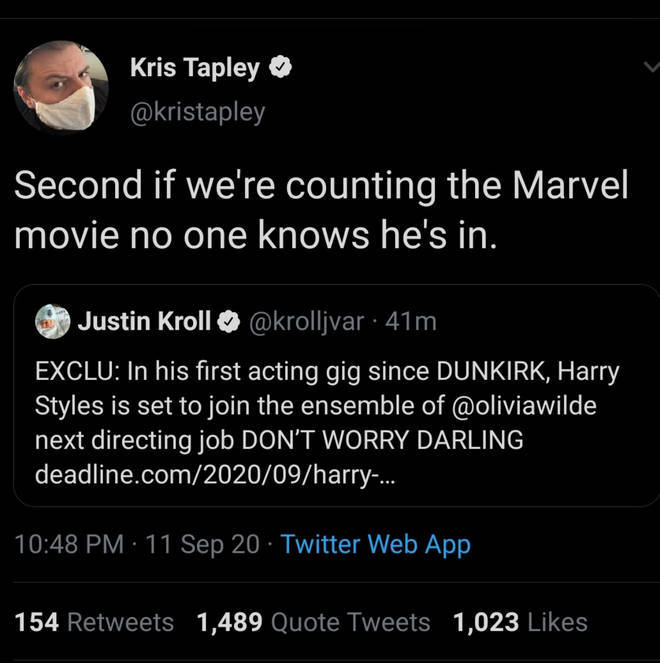 Netflix writer Kris Tapley tweeted and deleted that Harry Styles would be in a Marvel movie