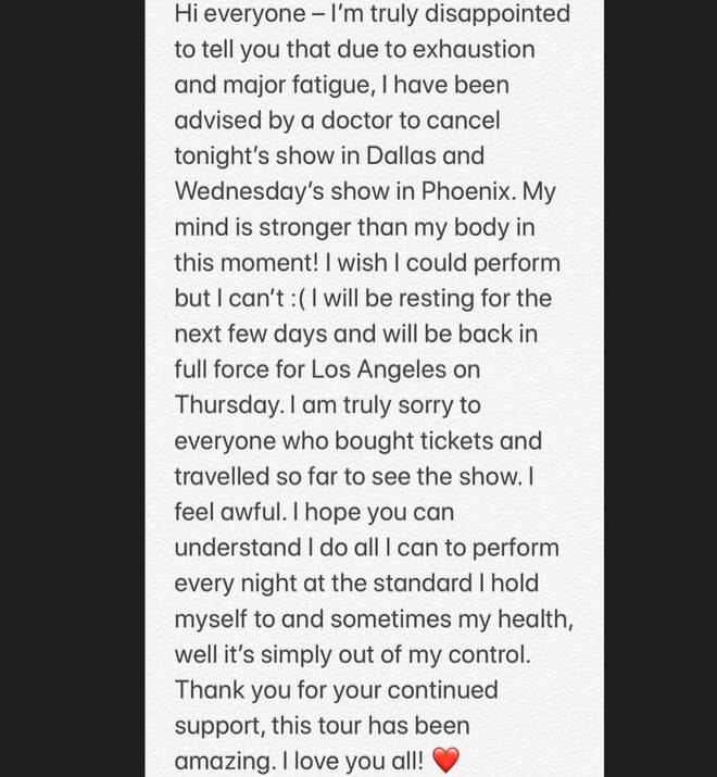 Jessie J was forced to cancel dates on her tour due to exhaustion