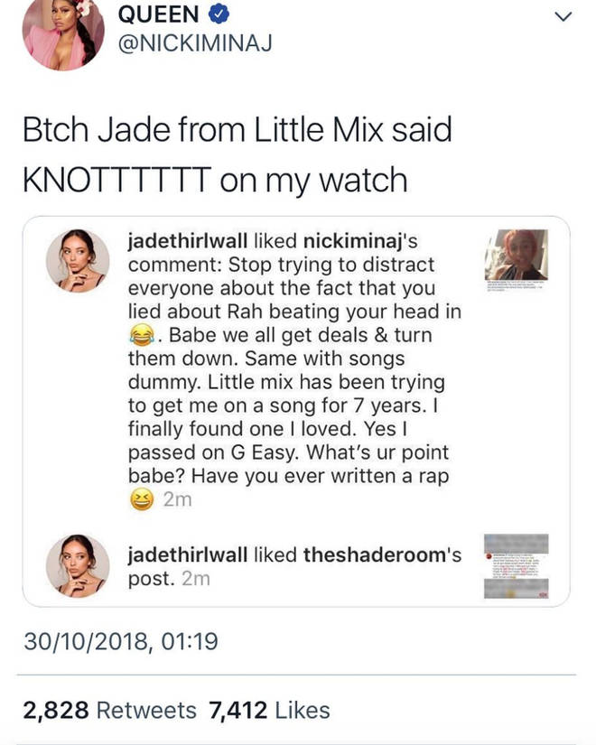 Jade Thirlwall likes Instagram comments tearing Cardi B down & Nicki Minaj praised her for it