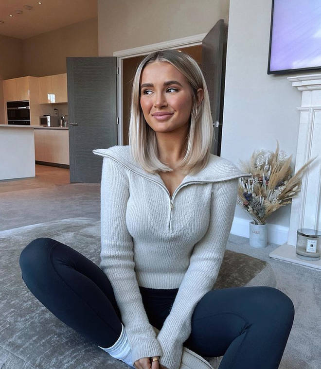 Molly-Mae Hague showing off her natural hair length after having her lip and jaw fillers dissolved.