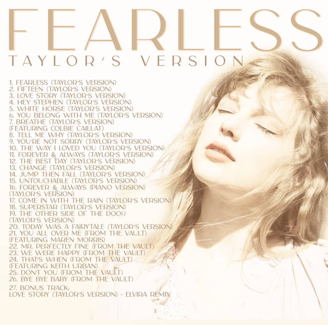 The track list for 'Fearless –Taylor's version'