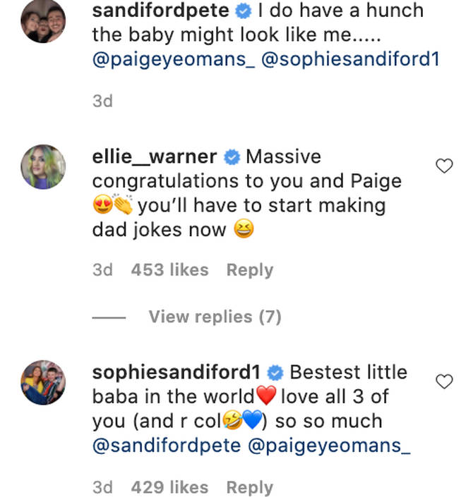Sophie wishes her brother Pete well after his baby announcement