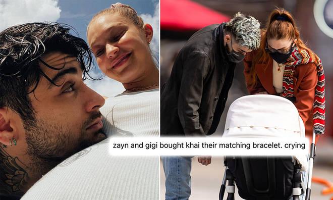 Gigi Hadid, Zayn Malik and Khai have the same evil eye bracelet.