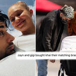 Gigi Hadid, Zayn Malik and Khai have the same evil eye bracelet.
