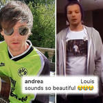Louis Tomlinson likes One Direction a capella video