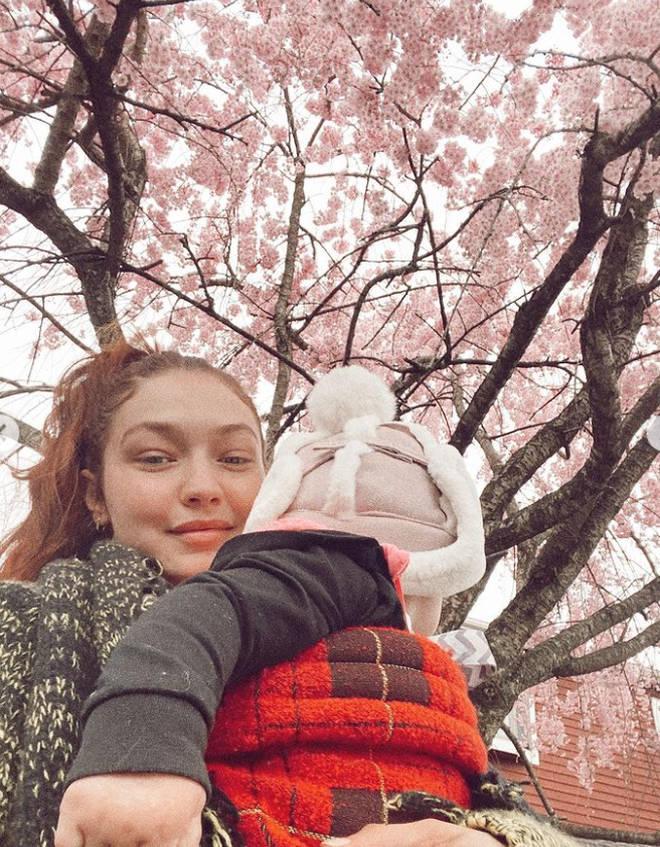 Gigi Hadid took Khai for a stroll around the family farm