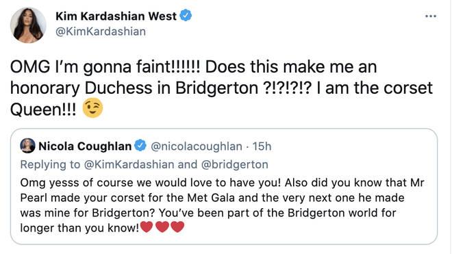 Kim Kardashian freaks out talking to Bridgerton star Nicola Coughlan