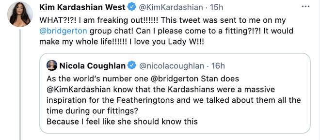 Kim Kardashian has a major Bridgerton freakout