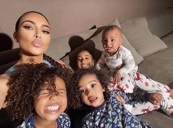 Kim Kardashian with her four kids, North, Saint, Chicago and Psalm.