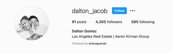 Dalton Gomez changed his Instagram profile picture to a snap with Ariana Grande.