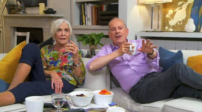 Gyles Brandreth appears on Celebrity Gogglebox alongside Dame Sheila Hancock.