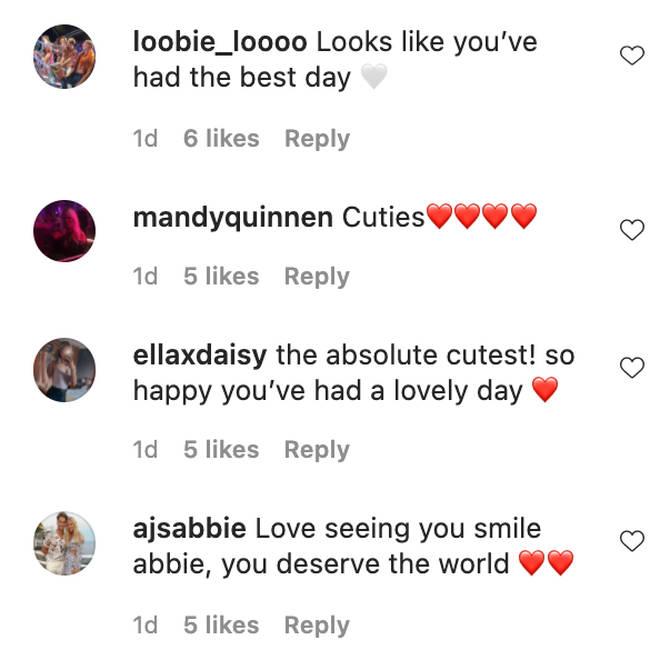 Abbie Quinnen's followers sent her lovely messages on Instagram.