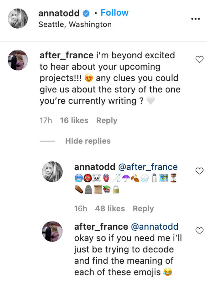 After's writer, Anna Todd shared some clues about a new book.