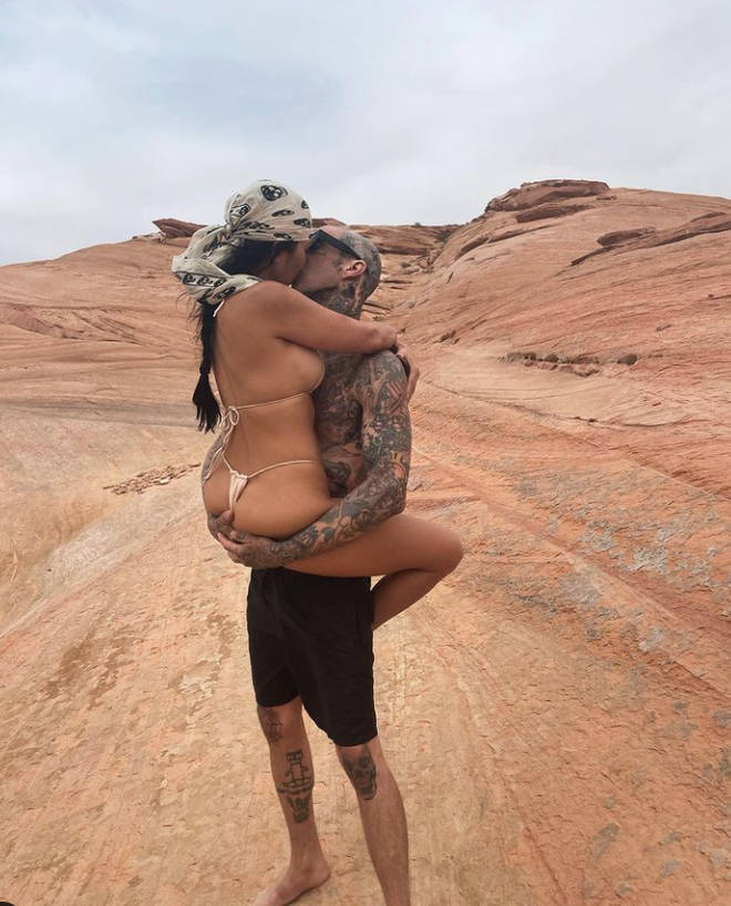Younes' post came after Kourtney Kardashian uploaded this pic with Travis Barker