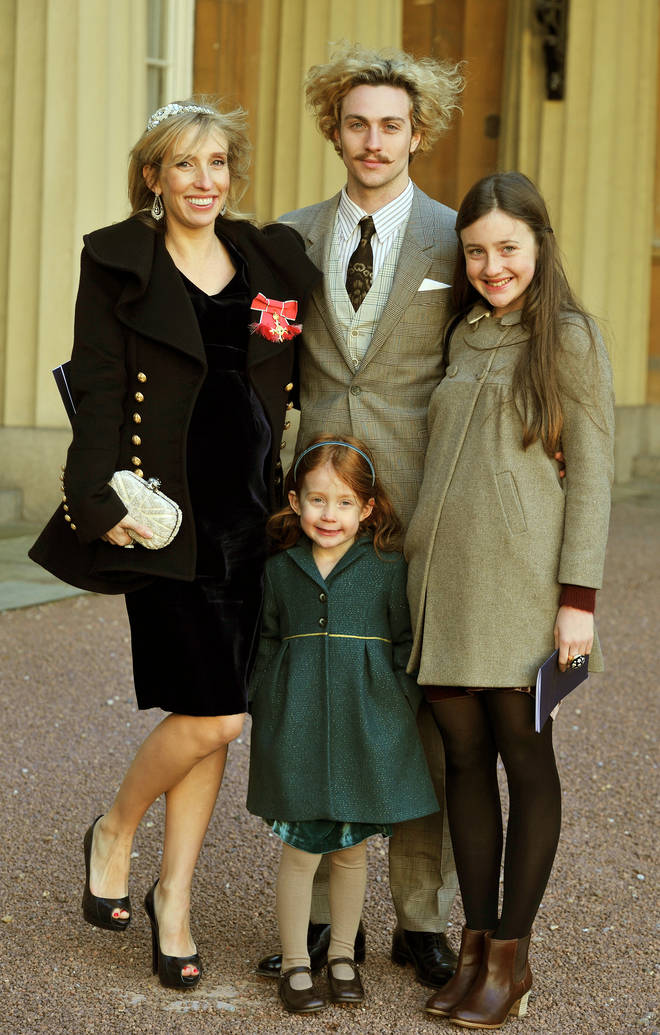 Sam Taylor-Johnson with her daughters from her first marriage