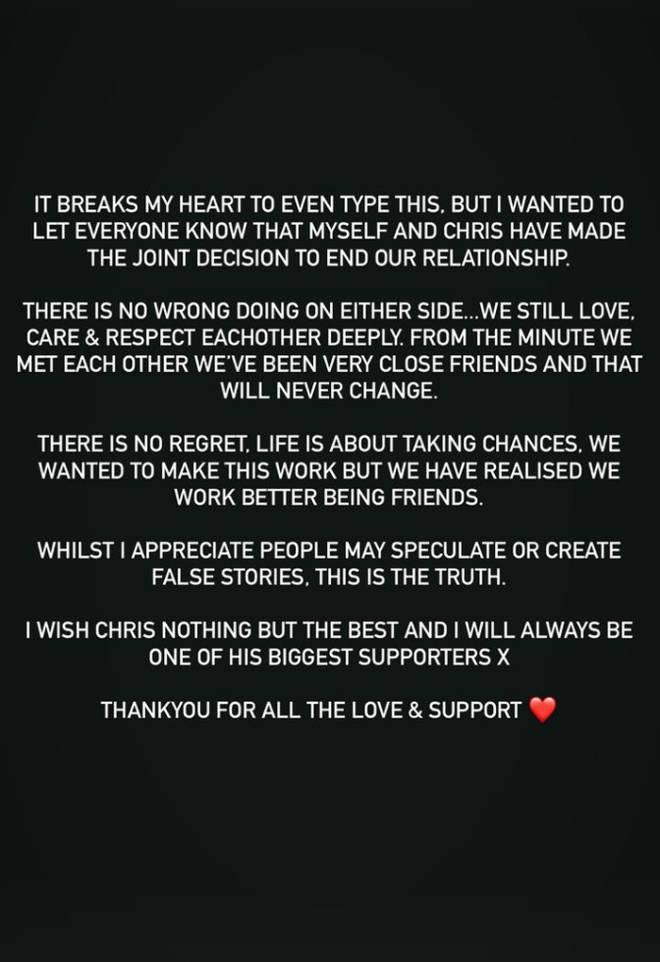 Maura Higgins and Chris Taylor confirmed their split on Instagram