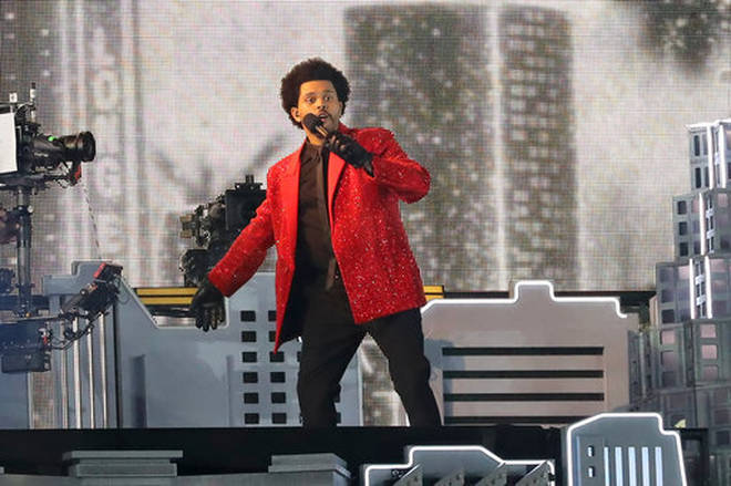 The Weeknd performing at the 2021 Super Bowl halftime show.