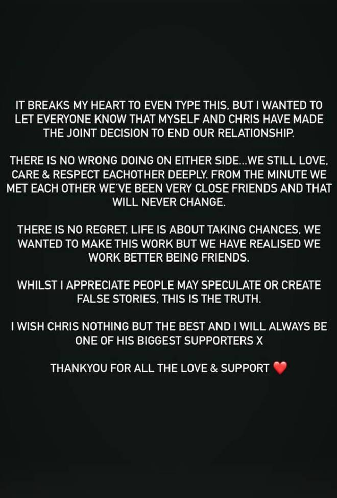 Maura Higgins confirmed her split from Chris Taylor on Instagram.