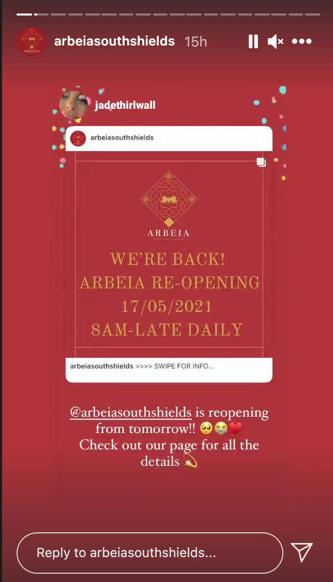 Jade Thirlwall has celebrated the re-opening of Arbeia bar.