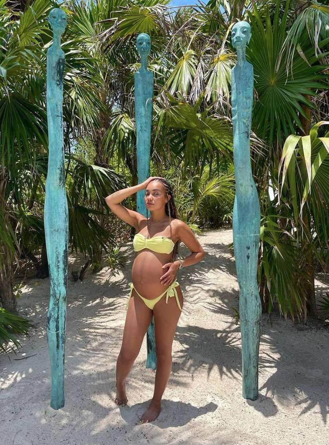 Pregnant Leigh-Anne Pinnock enjoying the sun