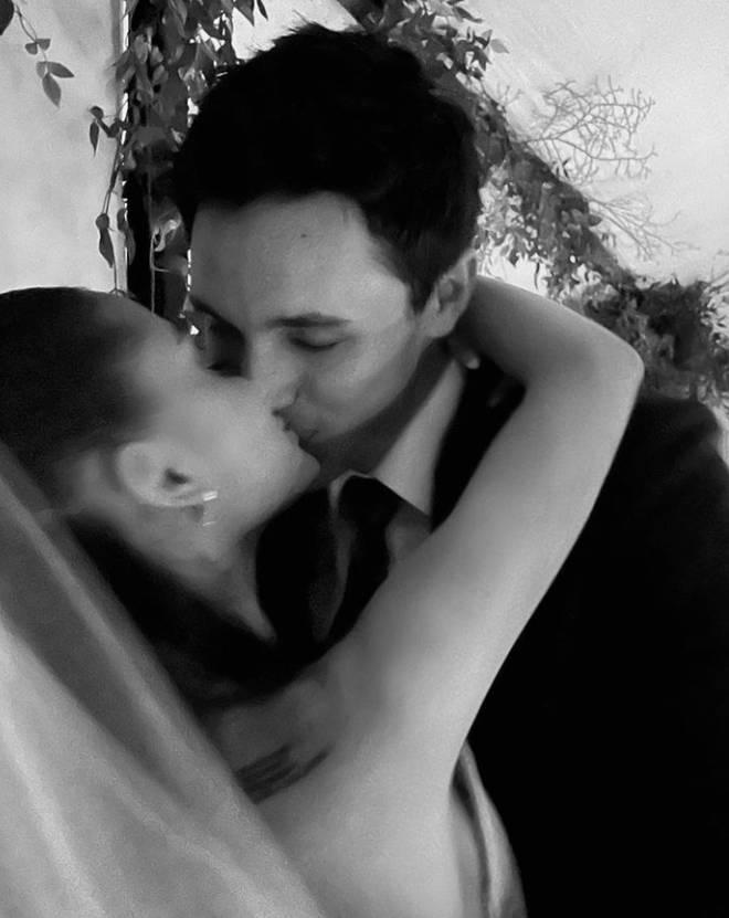 Ariana Grande and Dalton Gomez on their wedding day