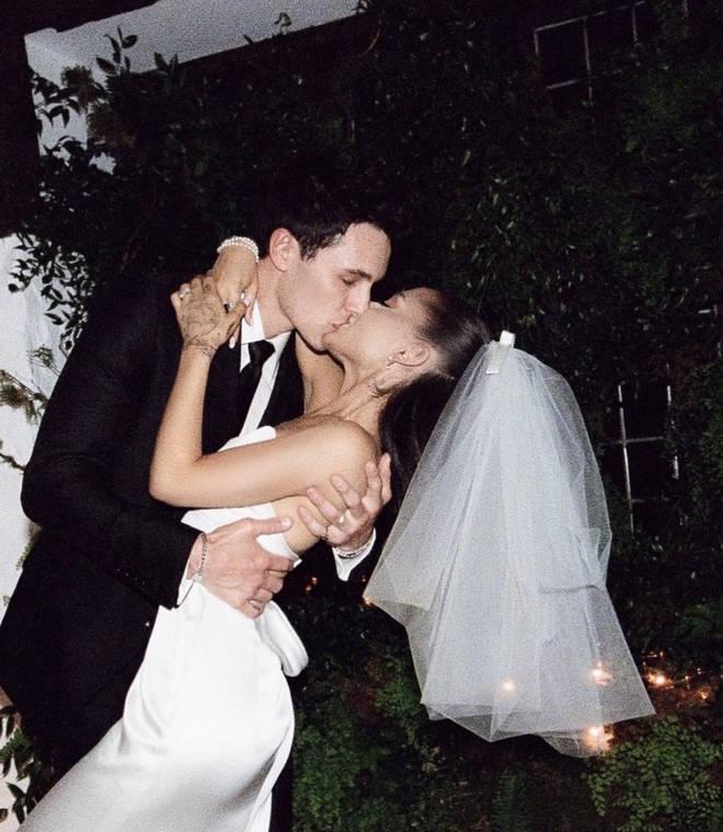 Ariana Grande and Dalton Gomez on her wedding day