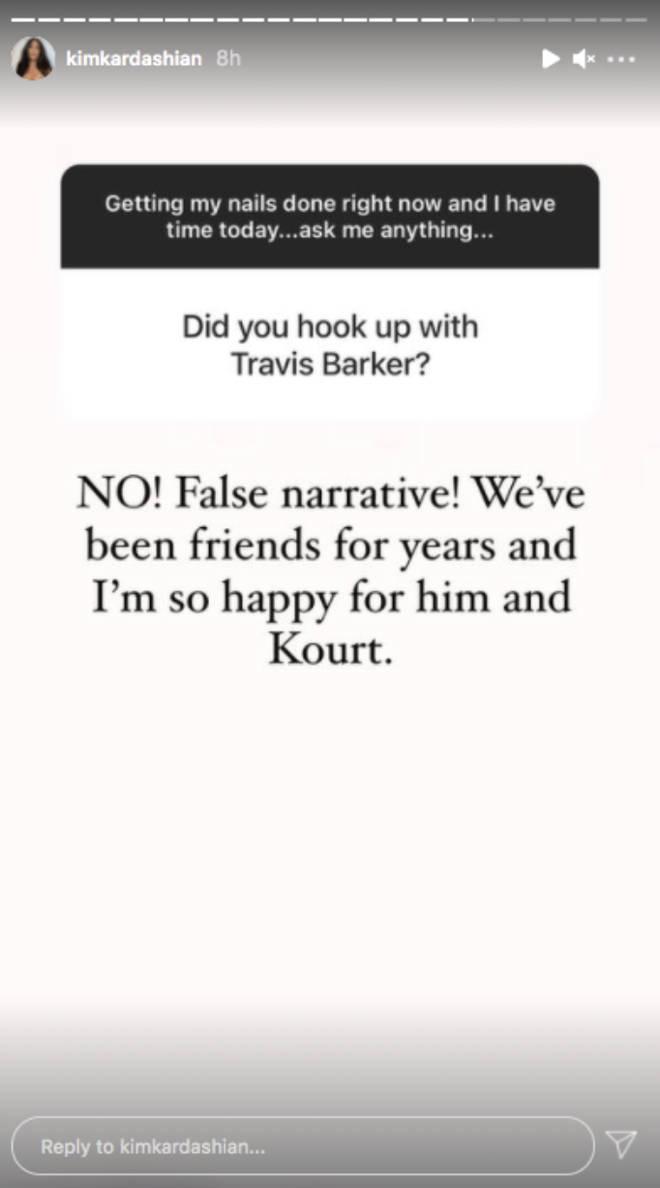 Kim Kardashian branded the Travis Barker affair claims a 'false narrative'