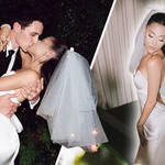 Ariana Grande posted photos of her bridal look from wedding to Dalton Gomez