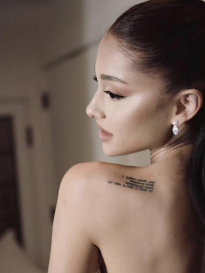 Ariana Grande's shoulder tattoo was visible on her wedding day