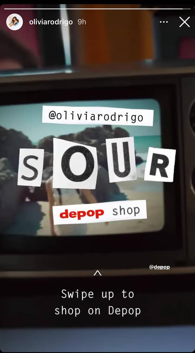 Olivia Rodrigo set up a 'Sour' shop on Depop