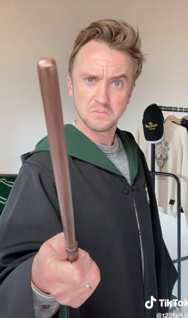 Tom Felton put on his Hogwarts robe for TikTok