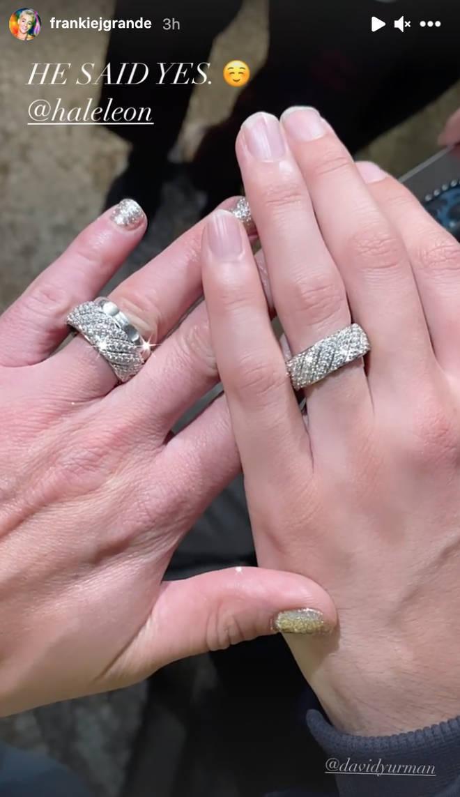 Frankie Grande showed off the rings