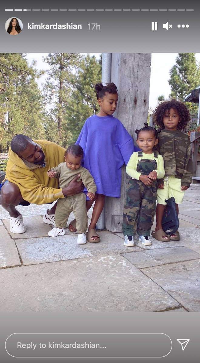 Kanye West with his four children he shares with Kim Kardashian
