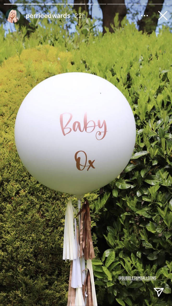 Fans were excited by the adorable 'Baby Ox' balloons Perrie Edwards posted to her story
