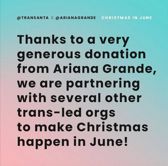 transanta announced on Instagram that Ariana Grande made a large donation to the cause