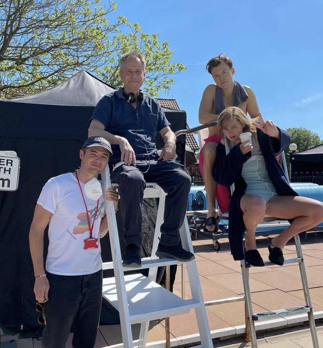 Emma Corrin shared photos with co-stars Harry Styles and David Dawson
