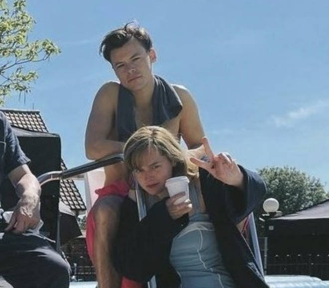 Harry Styles and Emma Corrin on set of My Policeman