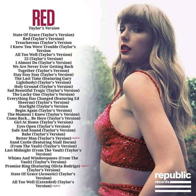 A rumoured tracklisting for 'Red (Taylor's Version)' has emerged online