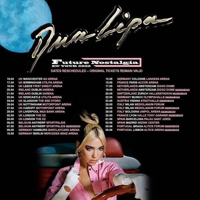 Dua Lipa announces that her UK tour dates must be resceduled