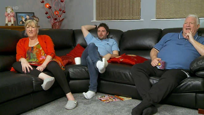 Pete and Linda with her son George on Gogglebox