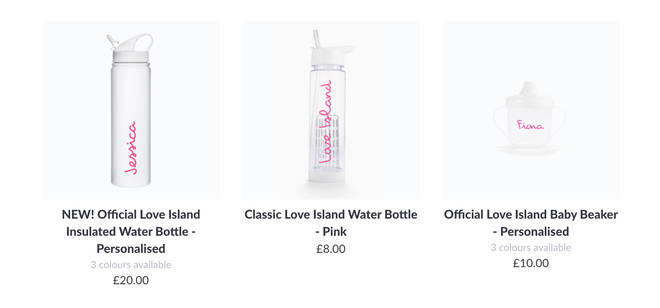 How to shop the Love Island personalised water bottles