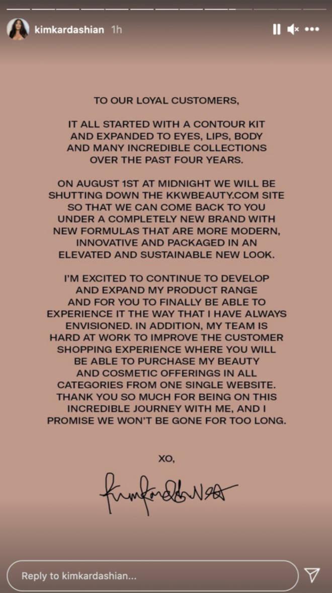 Kim Kardashian announced she's rebranding KKW Beauty