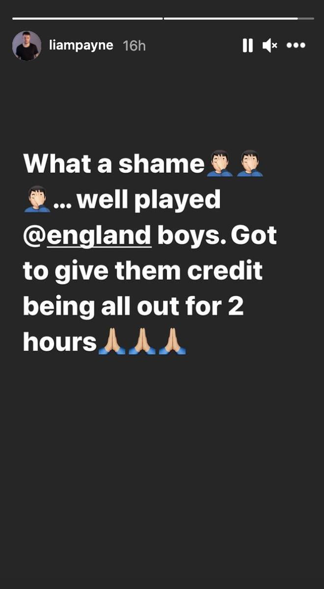 """Liam Payne calls England loss a """"shame"""" on Instagram"""
