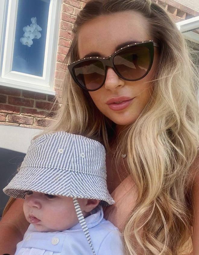 Dani Dyer with baby Santiago